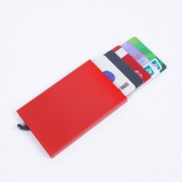 Wholesale Automatic Pop Up Click Slide Card Holder Thin Metal RFID Card Protector Cases Slim aluminium Credit Card Holder Wallet