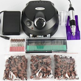 Wholesale Black Nail Tools Electric Nail Drill Machine RPM Nail Art Equipment Manicure Kit Nail File Drill Bit Sanding Band Accessory