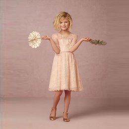 Pretty Girls' Knee Length Dress Half Sleeve Jewel Neckline Champagne Lace Dress 2016 Custom Made European Design