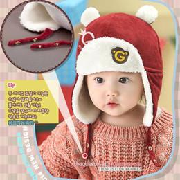 Wholesale 2016 New Child Bear letter G velvet baby Winter Hats Fur Children Knitting wool Hat Cap kids Warmer earflap beanie for years