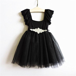 2016 New Girl Dresses Rhinestone Belt Lace Sleeve Summer Party Sundress Black Princess Dress Children Clothing 16112