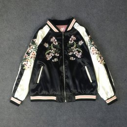 Wholesale Women s Girls Reversible Embroider Jacket Pink Black Phoenix Flowers Lightweight Pilot Vintage Baseball Coat Outwear Yokosuka Jacket HPY
