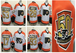 Wholesale 50th Anniversary Philadelphia Flyers Jerseys Claude Giroux Wayne Simmonds Shayne Gostisbehere Winter Classic Gold Throwback Hockey