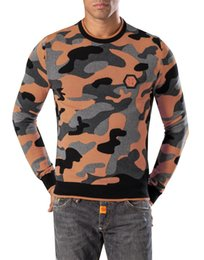 Wholesale Brand New Popular Autumn PHILIPP PLEIN Camouflage Style Men s PP Wool Sweaters Coat