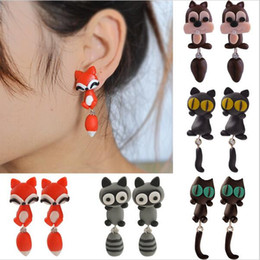 Wholesale New Handmade Polymer Clay Cute Cat Red Fox Lovely Panda Squirrel Tiger Animal Stud Earrings Ear Stud Jewelry Brincos