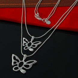 Wholesale jewelry hollowed out butterfly charm necklace 925 sterling Silver Multi-Layer Choker Statement Chain Necklace Christmas Gift