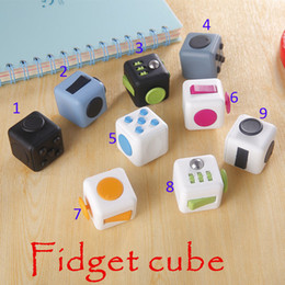 Wholesale 9 Color Fidget cube the world s first American original decompression anxiety Toys Adults and Children Novelty Fidget Cube Toy B