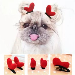 Wholesale 2Pcs Christmas Dog Clips Pet Accessories Pet Grooming Cats Clips Dog Hairpin Hair Accessory Red Heart Antlers