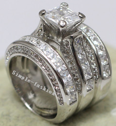 Vecalon Women Fashion Jewelry Full princess cut 15ct Cz diamond Engagement Wedding Band Ring Set 14KT White Gold Filled ring