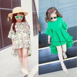 Wholesale Kid Girls Flower Print Irregular Ruffles Dress Bell Sleeve Asymmetric Summer Party Dress Cute Kids Girls Dress
