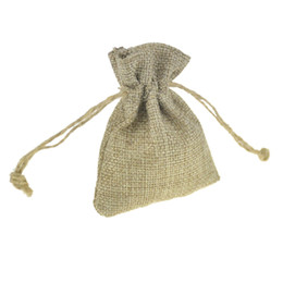 7x9cm Small Drawstring Bags Jute Gift Bags Jute Sack Vintage Jewelry Pouches Packaging case Wedding Favor holder