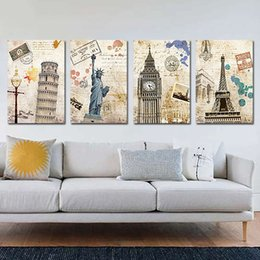 Wholesale pictures belly button rings Unframed Panel Eiffel Tower Big Ben And Leaning Tower Vintage Home Decor Europe Art Picture Print Painting