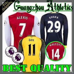 Wholesale 2016 Arsenal Away home RD Jerseys WILSHERE OZIL WALCOTT RAMSEY ALEXIS XHAKA Long sleeves shirt