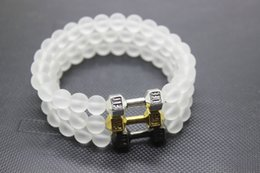 Wholesale mm mm mm white glass beads Frosted Glass ANtique silver gold gun black Dumbbell Agate Bracelet