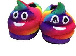Promotion pantoufles chaussures mignonnes Emoji Mignon pantoufles unisexe Chaud Chaussures Chaussures Intérieur Chaussons Intérieur Pantoufles Plush Slipper Chaussures Rainbow LJJK566
