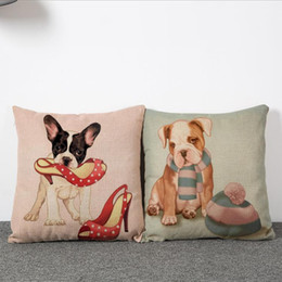 45cm Lovely Pug and Red High heels Cotton Linen Fabric Waist Pillow 18inch Fashion New Home Gift Coffeehouse Decoration Sofa Car Cushion