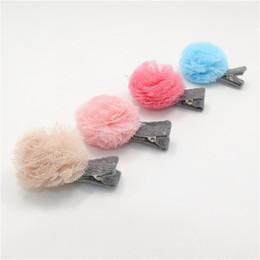 Cream Pink Pom Pom Ball Hair Clip Gauze Mesh Ball Toddler Hair Barrette Round Tulle Ball Newborn Infant Hairpin Cute Girls Head Accessory
