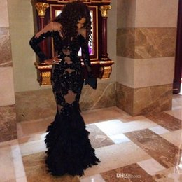 2017 New prom dresses Sexy Long Sleeves Lace Appliques See Through robe soiree Feather Mermaid party dresses Evening Gowns 023