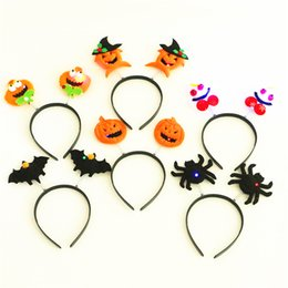 Wholesale Halloween Adult Costumes Cosplay Dress Kids Fashion Luminous Flashing Led Cloth Hair Hoop Head Band Pumpkin Bat Party Head Band Styles
