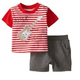 Rock Guitar Boys Clothes Sets Fashion Children Clothing Suit Tee Shirts Top Short Pants 2016 Brand New Baby Clothes 1-6years