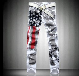 size 28-46 Mens Fashion Jeans American flag stamp White Leisure Jeans Pomo Personality Slim Fit Jeans Painted Print jeans