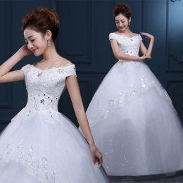 Wholesale 2016 New Summer In Europe And America Word Shoulder Floor length Bridal Wedding Dresses Lace Backless Bandage Wedding Dress B