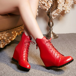 New Within Heighten Fashion Ladies Boots Slope with Genuine Leather Women Boots Frenulum Round Zipper Martin Boots Women Red Booties