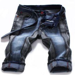 Wholesale-2016 New Designer Jeans Men Summer Style Patchwork Mens Short Pants Brand Denim Pants High Quality Casual Mens Short Plus Size