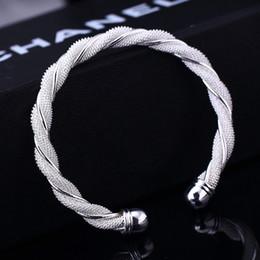 2016 hot 925 Silver Mesh Bangle Bracelet silver jewelry silver mesh bracelets twisted wire mesh bracelet bangle fashion girl jewelry