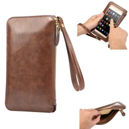 Crazy Horse portable fashion Purse PU leather touch screen diagonal mobile phone bag 6.3inch Universal for S7edge S6 S7 edge+ ipone6S Plus