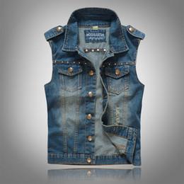 2016 New Men's Jean Denim Vest Blue Waistcoat Men Slim Fit Sleeveless Jacket Fashion Rivets Motorcycle Vests