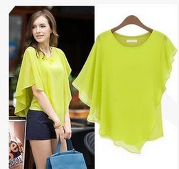 Wholesale 2016 Summer Europe Style Dresses Woman lady Blouses Bat Sleeves T Shirt Round Neck Chiffon Tops Sexy Elegant sizeS XL Blue Yellow Beige