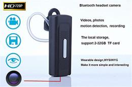 auricular Bluetooth portátil de cámara 1280 * 720P DVR ocultado mini espía auricular leva video audio mini videocámara de la detección del movimiento desde bluetooth auriculares cámara espía fabricantes