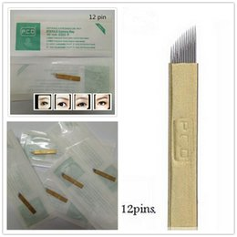 100 PCS PCD 12-Pin Permanent Makeup Manual Eyebrow Tattoo Needles Blade For Microblading Pen