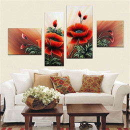 Wholesale Decorativa abstracto pintado a mano pintura al oleo sobre lienzo de alta calidad de pared arte paisajismo flowers decor set