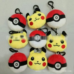 Wholesale Poke ball cartoon Plush dolls toys Pikachu Elf pokeball go keychain Pendant Stuffed Animals Plush Toys keyring key chain gifts