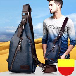 Brand Quality Assurance Men Chest Pack Outdoor Sport Leather Business Handbags Man Messenger Single Shoulder Crossbody Bags