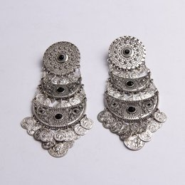 Antique Silver Black Stone Inlay Moon Link Souvenir Coin Fringe Statement Earring OEM ODM Wholesale