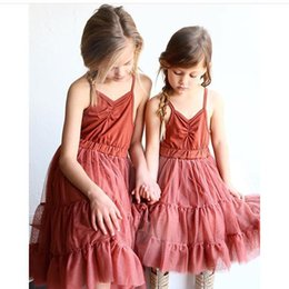 Wholesale INS Baby Girls dress summer children wine red suspender tulle tutu dress kids V neck princess dress Girls party dress children clothes A9213