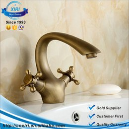 Hot and cold basin single hole basin tap Antique Brass Faucets Bathroom Faucet basin Sink mixer tap swan neck FG052