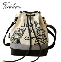 Wholesale 2016 Women Bags Spanish Canvas Bucket Bag Handbag Fashion Retro Canvas Women Shoulder Bag Vintage Print Cat Bags Female Bolso