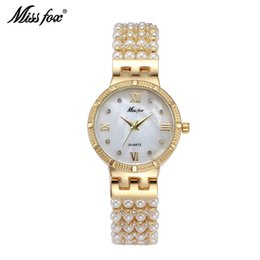 Wholesale New Fashion Classic Original Desigh shining crystal Chane and pearl decorated Full Stone Dial bracelet ladies modern Roles Replicas Watche
