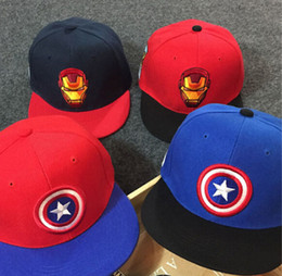 Wholesale-Captain America, Iron Man cartoon cotton cap baseball cap hat hip hop cap flat-brimmed hat snapback cap hats for men and women
