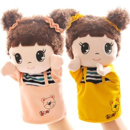 Wholesale 9 Styles Cartoon Hand Puppet Plush Toys Animal Plush gloves Handmade Plush dolls for baby Early Childhood Education