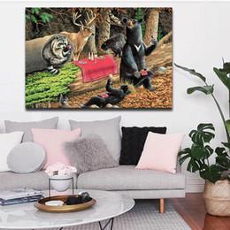 Break fotografías en Línea-1 Combinación de imagen juego osos en quebrado Árbol que pinta arte de la pared del bosque en la lona Fotos de animales para la decoración casera