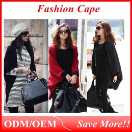 Wholesale Shawl Appliques - 2016 Stylish Women's Bat wing Cape Poncho Cardigan Sweater soft fabric Knit Tops Shawl Coat 3 Colors ouc021