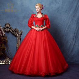 red unique sleeve beading embroidery ball gown Medieval Renaissance Gown queen cos Victorian dress  Antoinette  Belle ball