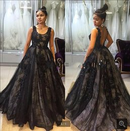 Wholesale Abendkeider New Black Scoop A Line Lace Dress Evening Party Long Backless Prom Gowns Abiye Online Evening Gowns Arab Women Dress