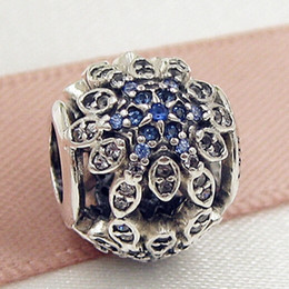 100% Authentic 925 Sterling Silver Crystalized Snowflakes Charm Bead with Blue Crystals Fit European Pandora Jewelry Bracelets & Necklace