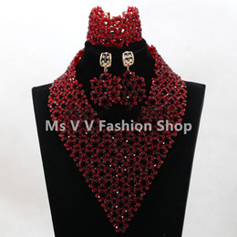 2019 hot sales Fabulous Wine Burgundy Women African Fashion Jewelry Sets 18K New Design Beads Statement Necklace Set Free Shipping